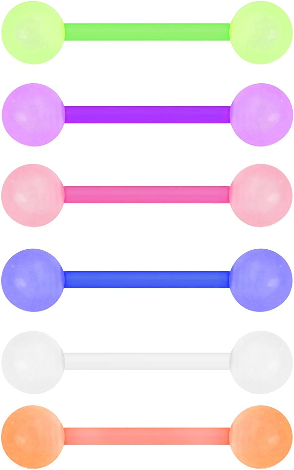Forbidden Body Jewelry Lot of 6 Glow in The Dark Tongue Rings: 14G 16mm (5/8 Inch) Bioflex Tongue Ring Barbell Set