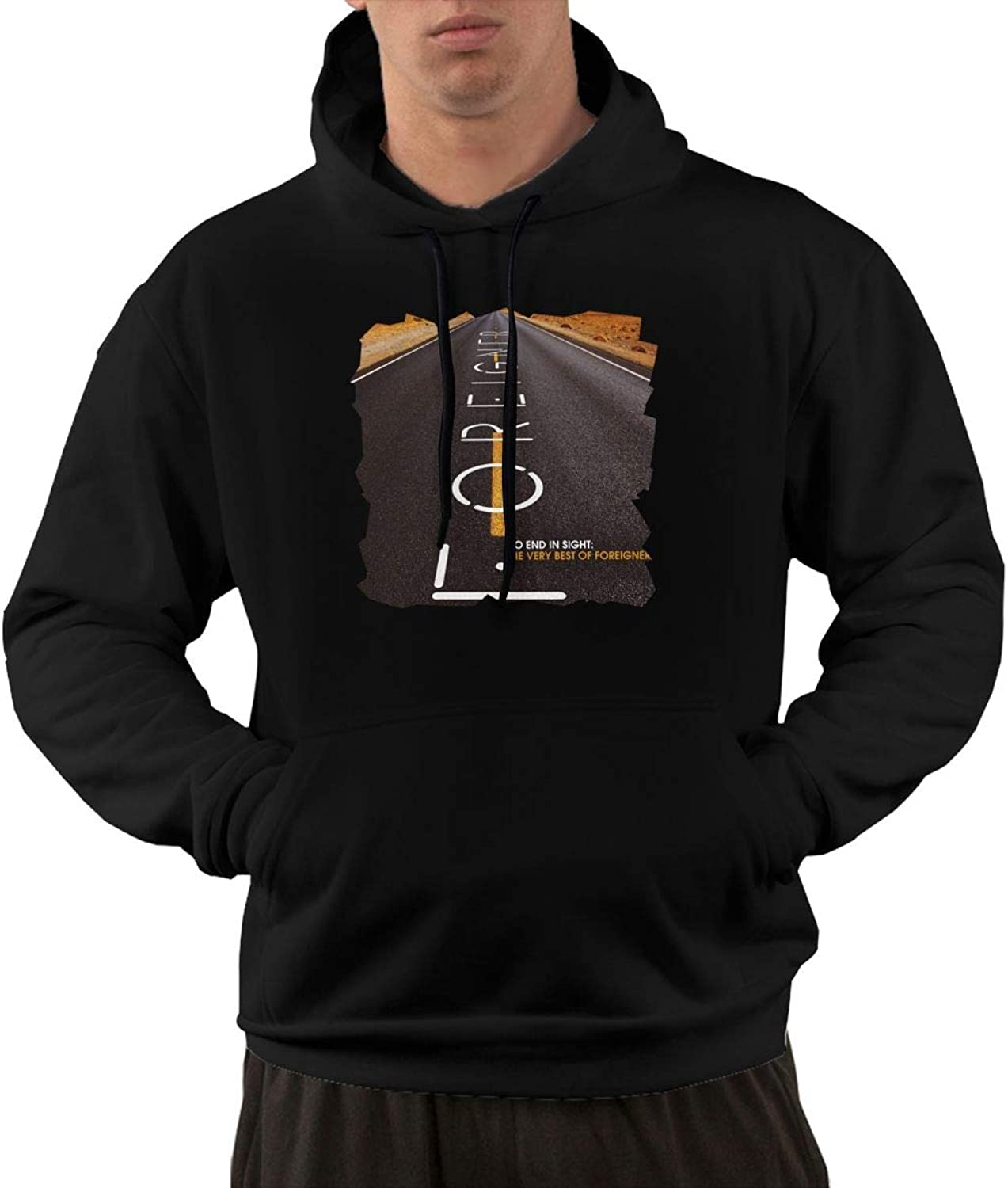 NolanO Foreigner No End In Sight Men's Hoodies Hooded Sweatshirt With Pocket Black