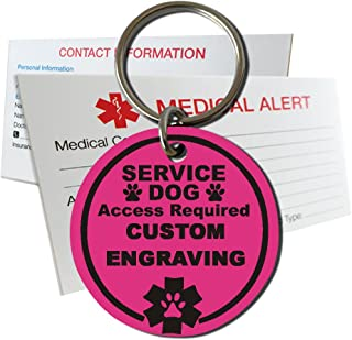 My Identity Doctor Service Dog Access Required ID Tag Custom Engraved Round Plastic