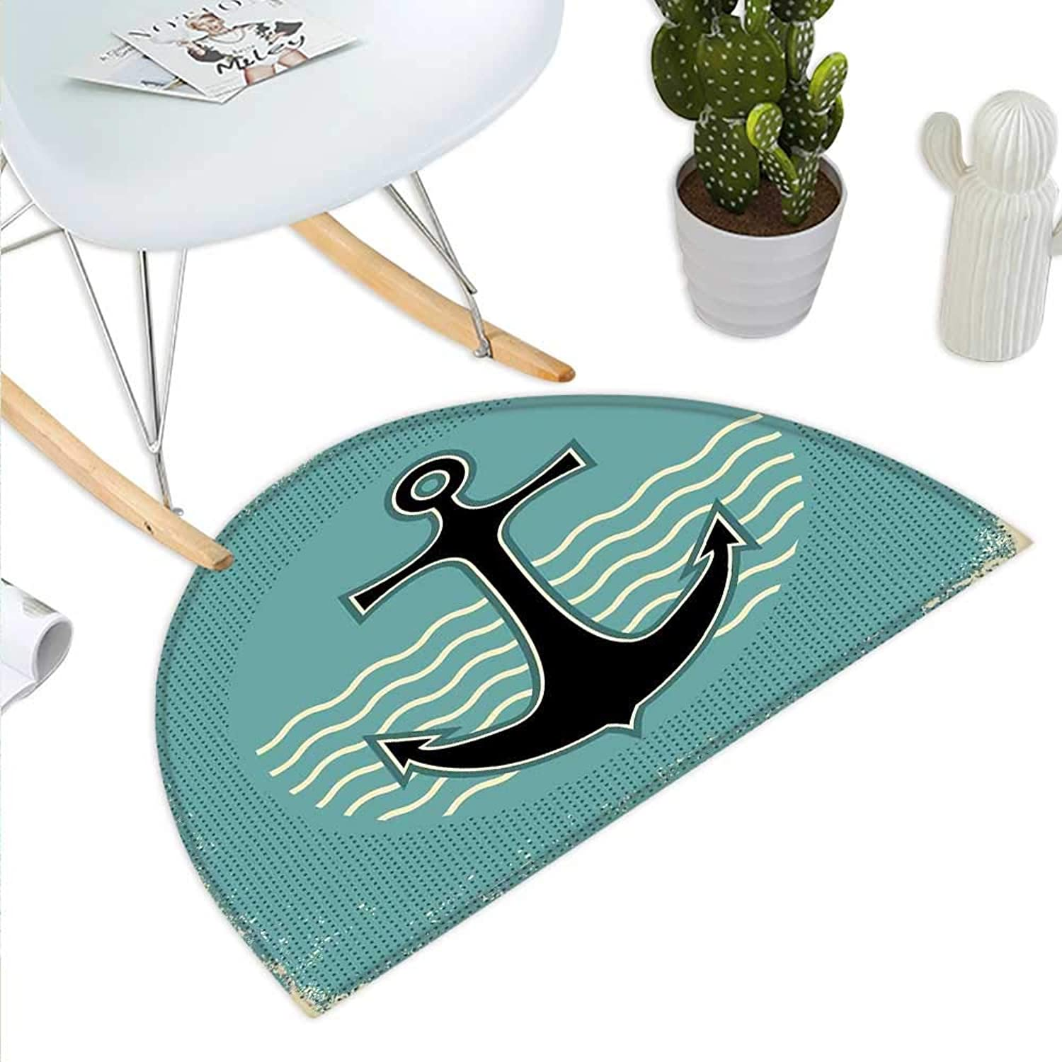 Anchor Semicircle Doormat Vintage Style Anchor Design with Wave Water color Antique Nostalgic Sea Sign Halfmoon doormats H 35.4  xD 53.1  Teal Black Yellow