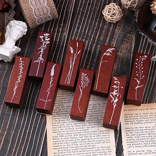 Lychii Holzstempel zum Basteln, 8PCS Vintage Holz Gummidichtung mit Natürliche Pflanzen Mustern Montierte Streifen Briefmarken für Heimwerker, Zeitschriften, Tagesplaner, Geschenkverpackungen