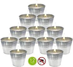 شمعة من شمع سيترونيلا صغيرة من المعدن لشمعة ذبابة وشمع الصويا للاستخدام في الأماكن المغلقة والمفتوحة - عبوة من 12 قطعة
