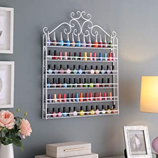 Dazone DIY Mounted 6 Shelf Nail Polish Wall Rack Organizer Holds 120 Bottles Nail Polish or Essential Oils (White)