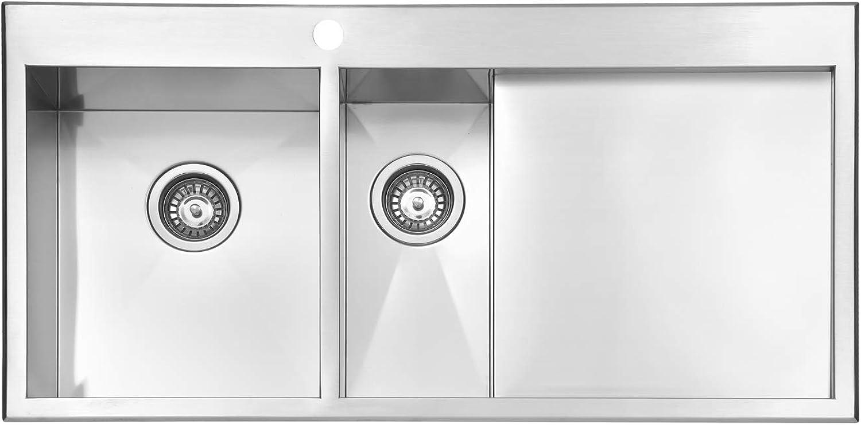 JASS Ferry Premium Edelstahl Küchenspüle 1,2 mm Dicke Handarbeit Design 1,5 Schüsseleinsatz rechts mit Sieb Ablaufrohre Armaturen