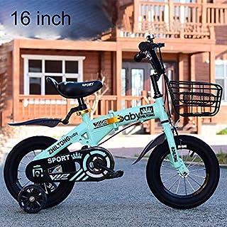 WXX ZHILTONG 5166 16 Pulgadas Plegable portátil Pedal niños de la Bici de montaña con el Frontal de la Cesta y Bell, Altur...
