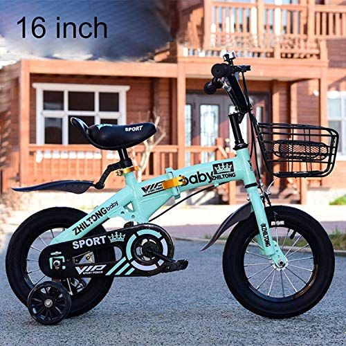 Luoshan ZHILTONG 5166 16 inch Foldable Portable Children Pedal Mountain Bike with Front Basket & Bell, Recommended Height: 110-125cm(Pink) (Color : Green)