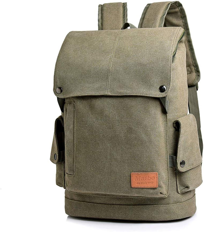 Men's Backpack Business Bag Leisure Bag School Bag Laptop Bag Travel Bag, Men's Casual Men's Fashion Trend Canvas Men's Bag StudentsArmyGreen