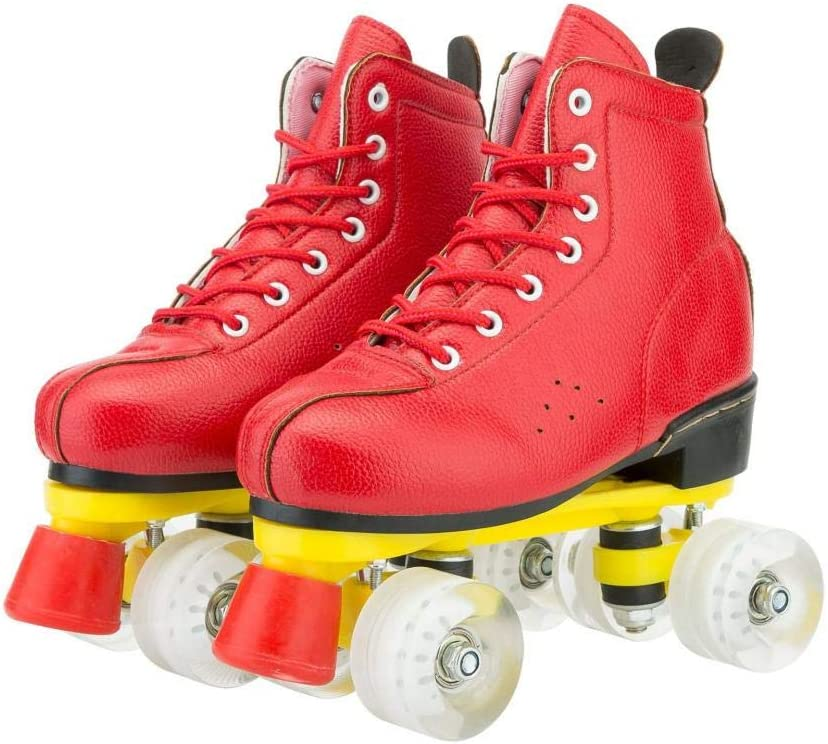 XUDREZ Womens Roller Skates Red Classic High-top Flash Hardwearing Roller Skates Double Row Four Shiny Wheels for Unisex Adluts Womens Mens Boys and Girls