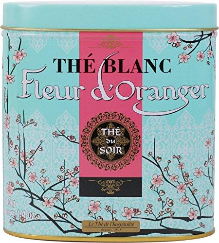 Terre d'Oc - Weißer Bio Bai Mu Dan Tee mit Aromen von Orangenblüten (Thé blanc fleur d'oranger) in dekorativer Metalldose 40 g