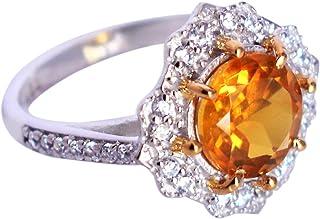 Brillantes impresiones joyas maravilloso amarillo citrino y topacio blanco 925 anillo de plata de ley maciza, joyería hech...