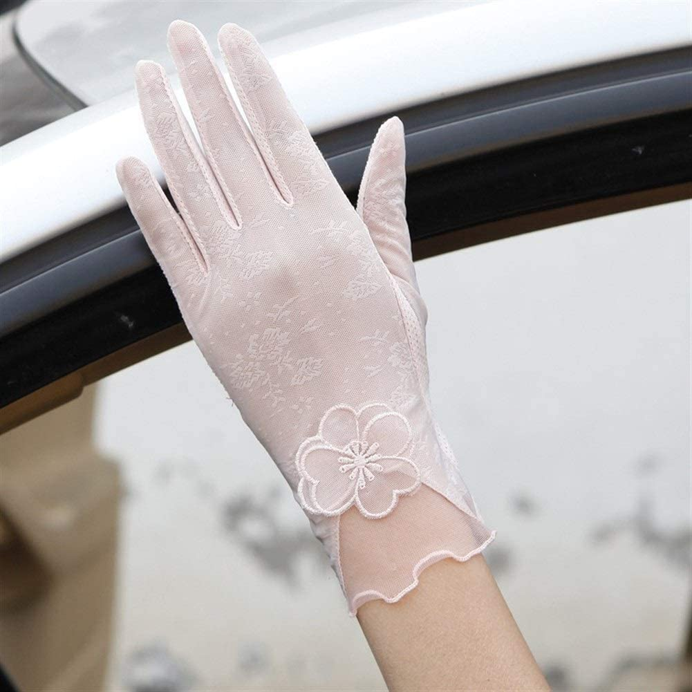 FASGION Sexy Spring Summer Women Autumn UV Sunscreen Short Sun Gloves Fashion Ice Silk Lace Driving of Thin Touch Screen Gloves (Color : Beige)