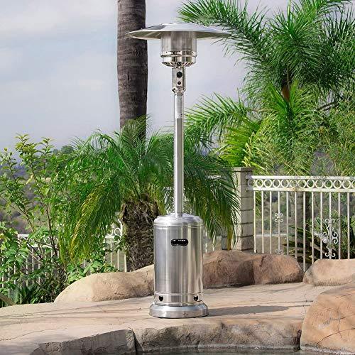 Outdoor Propane Heater 48,000 BTU Premium Patio Propane Heater LP Gas Standing CSA Ce, Stainless Steel