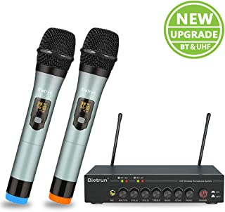 Wireless Microphone with Echo, Treble, Bass&Bluetooth, UHF Dual Pro Home Dynamic Handheld Metal Microphone Karaoke System Set, 160 Ft Range, for Karaoke Party, Amp, PA System, Singing Machine, Church