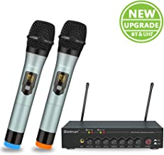 Wireless Microphone with Echo, Treble, Bass&Bluetooth, UHF Dual Pro Home Dynamic..