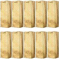 VABNEER 10 Paquete Bolsas de Papel para Botellas de Vino Embalaje Botellas Vino para Aniversario, Cumpleaños y Festival - 4.7 x3.93 x 14 Pulgadas (Oro)