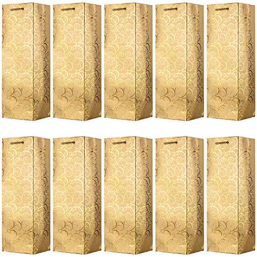 VABNEER 10 Packung Wein Geschenktasche Flaschentüten Geschenktüten Wine Gift Bags für Jubiläum, Geburtstag und Festival - 4.7 x3.93 x 14 Zoll (Gold)