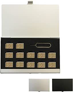 lool nanoSIMカード 収納 アルミケース 12枚収納 SIMピンも収納 紛失防止 持ち運び ケース (シルバー) 7ch-no-nanosim12-SV