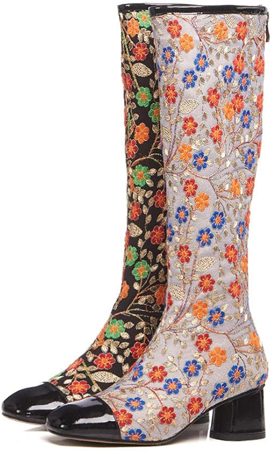 Hoxekle Knee High Boot Embroidery Printing Design Mid Heel Autumn Winter Casual Fashion Female Outdoor Long Boots