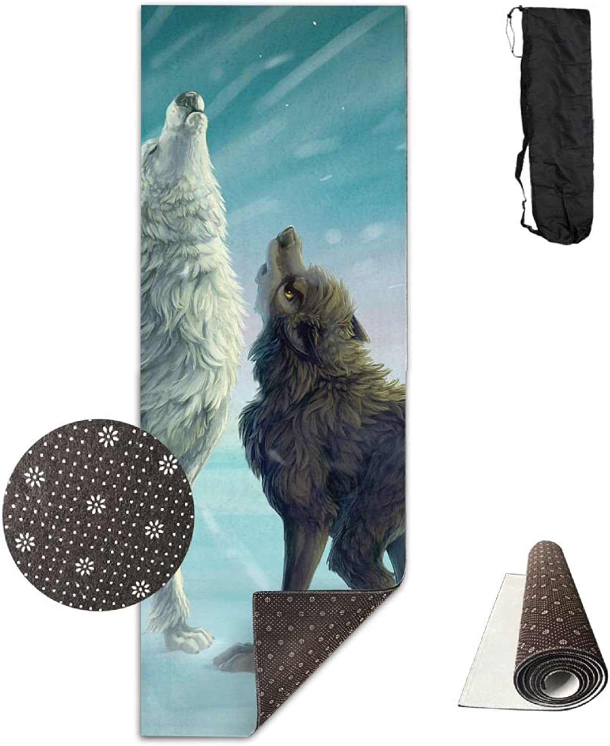 Gym Mat Cartoon Wolves Fitness High Density AntiTear Exercise Yoga Mat With Carrying Bag For Exercise,Pilates