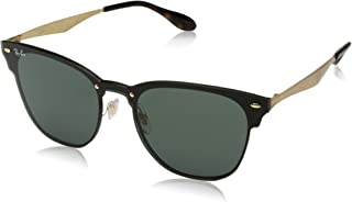 Ray-Ban RB3576N Blaze Clubmaster Square Metal Sunglasses, Gold Striped/Green, 47 mm