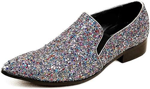 Best-choise zapatos de Vestir de Fiesta de Cuero de OX Genuino de los hombres del pie en Punta Oxfords Premium con decoración de Diamantes de imitación de Lentejuelas Llamativo