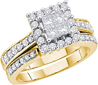 14k Yellow OR White Gold Diamond Ladies Womens Bridal Engagement Ring with Matching Wedding Band Two 2 Ring Set Invisible Solitaire Style Center Setting with Side Stones Channel Set Halo Princess and Round Cut Diamond Ring (1/2 cttw)