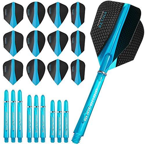 Harrows Retina Combo Kit – Dart Flights und Schäfte Combo Kit – Blau – inkl. Darts Corner Kugelschreiber