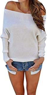 Fashion Women Off-Shoulder Knitted Long-Sleeve Blouse Comfy Solid Color Sweater