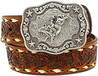 Nocona Belt Co. Boys Boys Brown Floral Tooled Belt with Buckstitching and Buckle 26 Tan