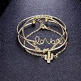 Pulsera Mujer 4 Unids/Set Pulsera De Flecha De Cadena De Oro Amor Carta Encanto Cactus Pulsera Nudo Brazalete Pulsera Joyería Regalos