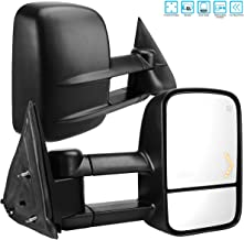 AUTOSAVER88 Towing Mirrors for 2003-2007 Chevy Silverado GMC Sierra 1500 2500 HD 3500, Power Heated Side View Tow Mirror for Tahoe Suburban Avalanche Yukon with Arrow Turn Signal Light
