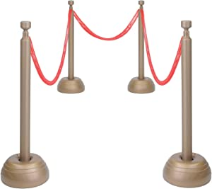 Beistle Red Rope Stanchion Set Awards Night Decorations, VIP Party, Red/Bronze (Plastic)