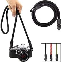Eorefo Camera Strap Vintage 100cm Nylon Climbing Rope Camera Neck Shoulder Strap for Micro Single and DSLR Camera,Black.
