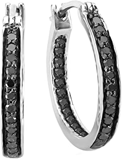 0.38 Carat (ctw) Round Black Diamond Fine In and Out Huggie Hoop Earrings 3/8 CT, Sterling Silver