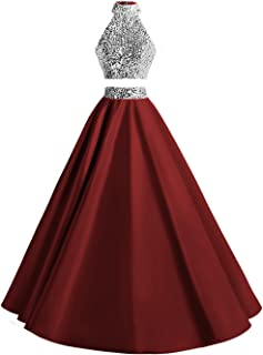 Women Two Piece Prom Dress Beaded Long Party Gowns Evening Dresses