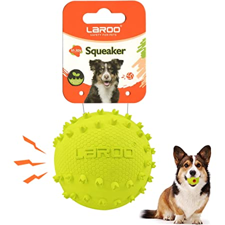 """LaRoo Dog Squeaky Ball Sound Toys,Durable Rubber Interactive Fetch Chew Toys,Outdoor Dog Football for Large and Small Dogs(Vocal Softball-2.5"""")"""