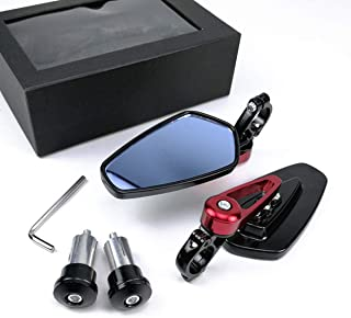 OKSTNO 1Set 7/8 22mm Universal Motorcycle Aluminum Rear View Handle Bar End Side Rearview Mirrors (Red)