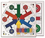 Cayro - Tablero Parchís De Madera con Accesorios para 4 y 6 Jugadores - Juego de Tradicional - Juego de Mesa - Desarrollo de Habilidades cognitivas - Juego de Mesa (T-134/A)