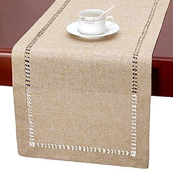 Grelucgo Handmade Hemstitch Beige Table Runner Or Dresser Scarf Rectangular 14 by 60 Inch