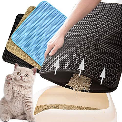 BPS Estera de Arena para Gatos Alfombra para Gatos Doble Capa Impermeable Fácil de Limpiar para Proteger el Suelo y la Alfombra 2 Tamaños Color al Azar (M: 50x40 cm) BPS-5732