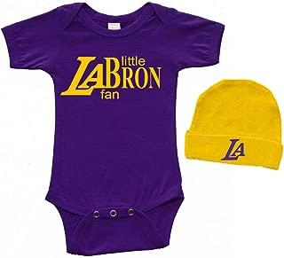 PandoraTees Short Sleeve Bodysuit & Cap Set - Little LABron Fan