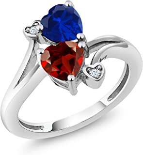 1.73 Ct Heart Shape Blue Simulated Sapphire Red Garnet 925 Sterling Silver Ring (Available 5,6,7,8,9)