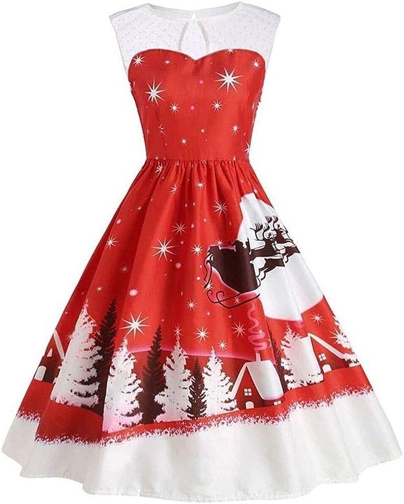 Longra Weihnachtskleid Damen Weihnachten Party Kleid Vintage