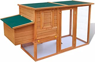 Tidyard Outdoor Chicken Cage Hen House with 1 Egg Cage Wood 192 x 75 x 103 cm