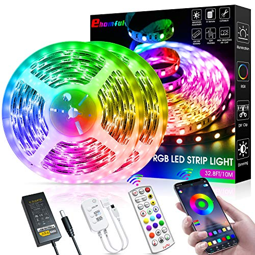 65.6ft LED Strip Lights, Ultra-Long Bluetooth APP Control LED Light Strip with Remote,ehomful 600LEDs RGB LED Lights for Bedroom,Music Sync Color Changing DIY for Room,Home,Kitchen, Party Christmas