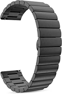 MoKo Band Compatible with Samsung Gear S3/Galaxy Watch 46MM/Gear S3 Frontier/Classic/Ticwatch pro/E2/S2/Huawei Watch GT 46mm for Women Men, Stainless Steel Replacement 22mm Metal Strap - Black