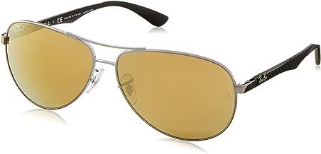 RAY-BAN Men's RB8313 Aviator Carbon Fiber Sunglasses, Shiny Gunmetal/Polarized Brown Mirror Gold, 61 mm