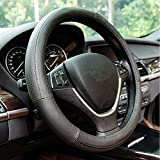 Gomass Steering Wheel Covers Dry Non-Slip Leather Universal 15 Inch Wheel Wrap (Black with Black Line)