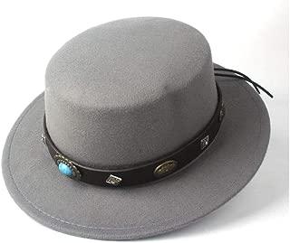 Pork Pie Hat Fedora Trilby Women Men Wool Flat Top Fedora Hat Trilby Steampunk Belt Dad Church Hat Wide Brim Jazz Hat Fascinator Hat Size 56-58CM (Color : Gray, Size : 56-58)