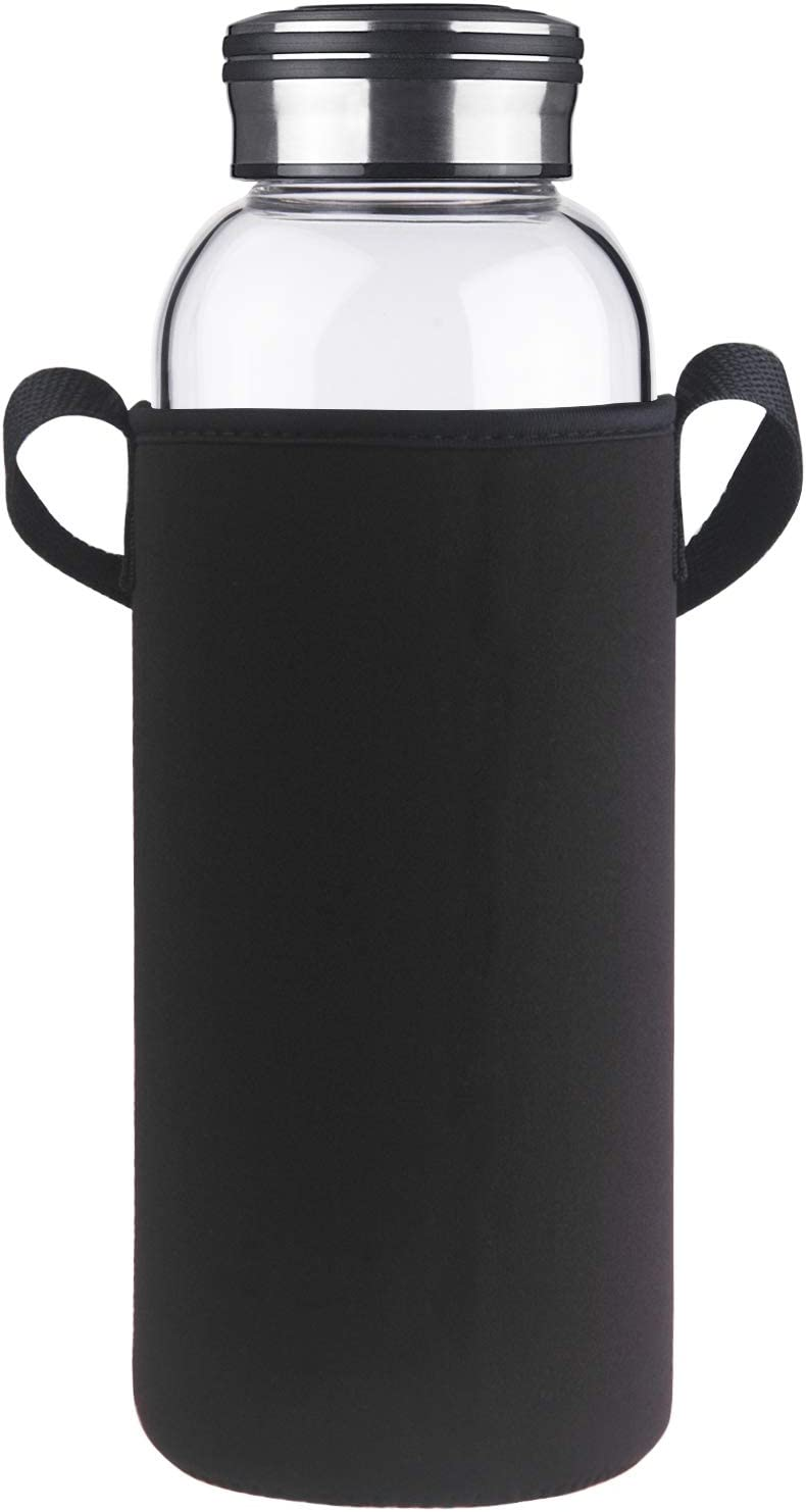 Cleesmil Large Glass Water Bottle with Neoprene Sleeve 48 oz